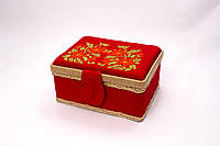 Яркая корзинка ручной работы для рукоделия (20*15*10 см).