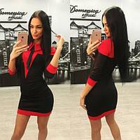 Черно-красное облегающее платье b-31031224