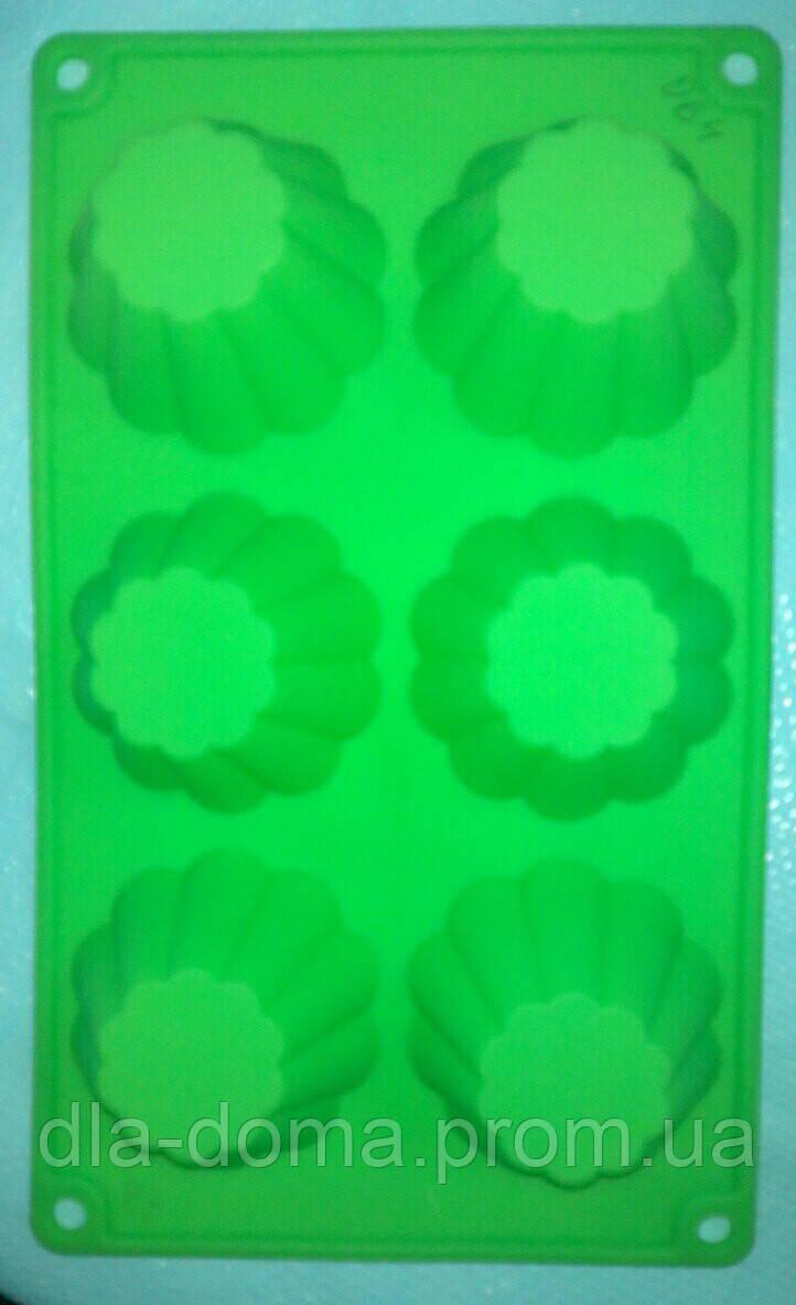 Силиконовая форма кексы 6 ячеек