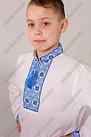 Детская вышиванка для мальчика крестиком Федор синий. От 3 до 12 лет