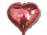 Шар фольгированый в форме сердца   персиковое в точечку , 45 см.