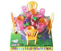 Мебель 966, для столовой, стол, стулья, посуда, под слюдой: 12,5х12,5х10 см