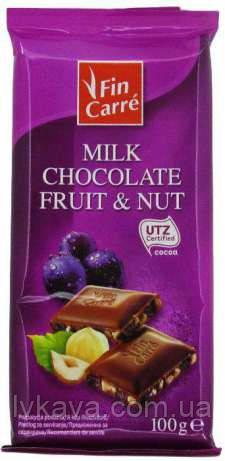 Молочный шоколад Fin Carre c изюмом и орехами , 100 гр