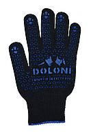 Трикотажные перчатки с ПВХ-рисунком, черные (667) ТМ DOLONI / Украина