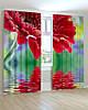 Фотошторы с цветами гербера красная на воде