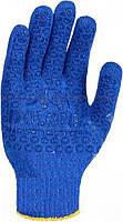 Трикотажные перчатки с ПВХ-рисунком, синие (646) ТМ DOLONI / Украина