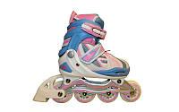 Роликовые коньки раздвижные KEPAI (р-р S-31-34, L-39-42, PL,PVC, колесо PU, алюм. рама, розовый)