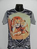 Мужская футболка львы хлопок черная, серая Турция Rixonn размер M, L, XL, XXL