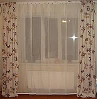 Комплект штор и тюль панельки Иероглифы, фото 1