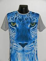 Яркая мужская футболка тигр серая Турция Rixonn размер M, ХXL