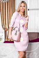 Красивое приталенное женское платье с цветочным принтом рукав три четверти дайвинг
