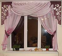Комплект тюль Розово-сиреневый, фото 1
