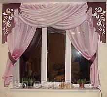 Комплект тюль Розово-сиреневый