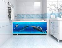 """Экран под ванную 170 см с рисунком Дельфин """"Ультралегкий Арт"""" ТМ """"МетаКам"""""""