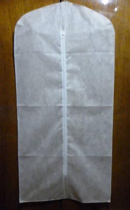 Чохол білий 60*90 см для зберігання і упаковки одягу на блискавці флізеліновий, фото 2
