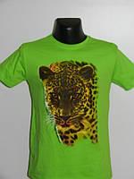 Мужская футболка зеленая с принтом гепард Турция Strongman размер L, XXL