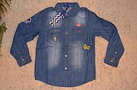 Рубашка для мальчиков из тонкого джинса 8-16 лет