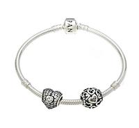 """Браслет  """"Сердечки для любимой"""" 17 см (Authentic) из серебра 925 пробы."""