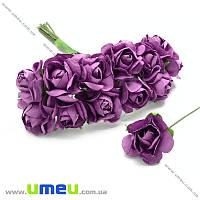 Роза бумажная, 15 мм, Сиреневая, 1 шт (DIF-006744)