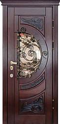 """Стальная дверь с ковкой и стеклом """"Портала"""" (серия PatinaElit) ― модель M-8 Vinorit"""