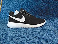 Женские кроссовки роше ран оригинал черные на белой подошве