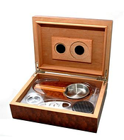 Хьюмидор 92060 для 12 сигар, коричневый + пепельница + гильотина 24х18х8см