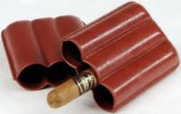 Футляр 81308 для 3 сигар, экокожа, коричневый, 13 см/х1.8 см