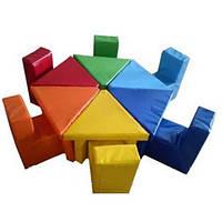 Детская мягкая набивная мебель (стол и стулья) Цветик