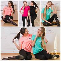 Яркий спортивный костюм-двойка для спорта и фитнеса: футболка и лосины
