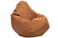 Бежевое кресло-мешок груша 100*75 см из микро-рогожки, кофе с молоком, фото 1
