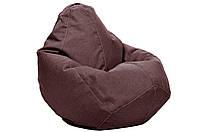 Коричневое кресло-мешок груша 100*75 см из микро-рогожки, фото 1