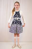 Детское модное, нарядное платье с  белым болеро.
