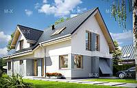 MS117. Современный дом с мансардным этажом и гаражом, фото 1