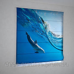 Римские фотошторы дельфин под волной