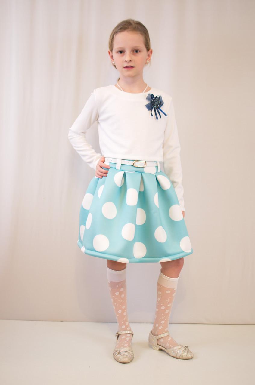 Детское модное, нарядное платье  бирюзово-белое.