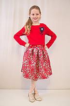 Детское оригинальное, нарядное трикотажное платье с брошью.