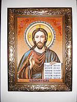 Икона Спаситель 25*20 см. из янтаря