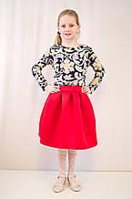 Детское оригинальное, нарядное трикотажное платье с юбкой из неопрена.