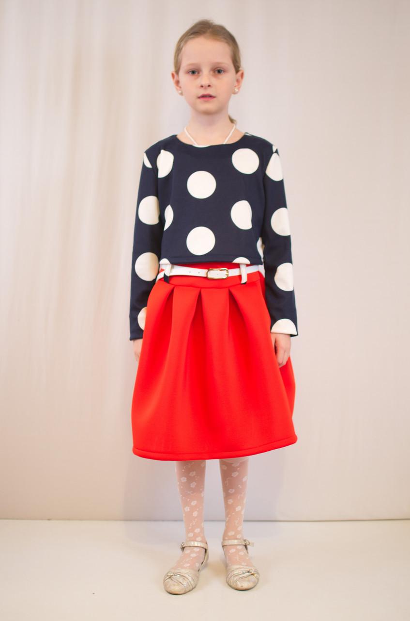 Детское оригинальное, нарядное трикотажное платье в горошек.