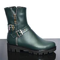 Ботинки кожаные женские зеленого цвета, демисезонные на тракторной подошве, фото 1