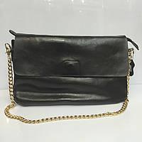 Женская сумка - багет 1118 из натуральной кожи черного цвета