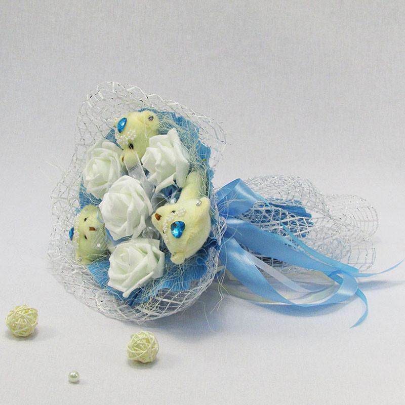 Букет из игрушек Мишки 3 с розами голубой