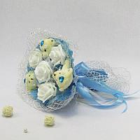 Букет из игрушек Мишки 3 с розами голубой, фото 1