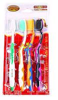 Набор зубных щеток с бамбуковым угольным напылением - 4шт разных Новинка!