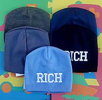Модная демисезонная шапочка  для мальчика.Rich.