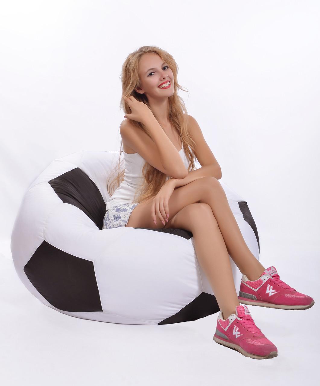 Кресло-мяч 100 см из ткани Оксфорд черно-белое, кресло-мешок мяч, фото 1