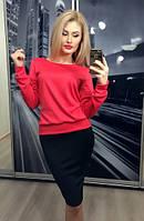 Костюм женский с юбкой / юбка+свитер / красный