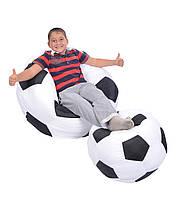 Кресло-мяч 80 см из кожзама Зевс черно-белое, кресло-мешок мяч