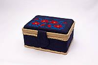 Красивая шкатулка для рукоделия с вышивкой без ручки (15х20х10 см)