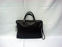 Сумка - портфель черный кожаный